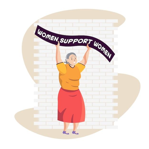 Mulher madura ativista segurando cartaz movimento de empoderamento feminino conceito de poder feminino ilustração vetorial de corpo inteiro Vetor Premium