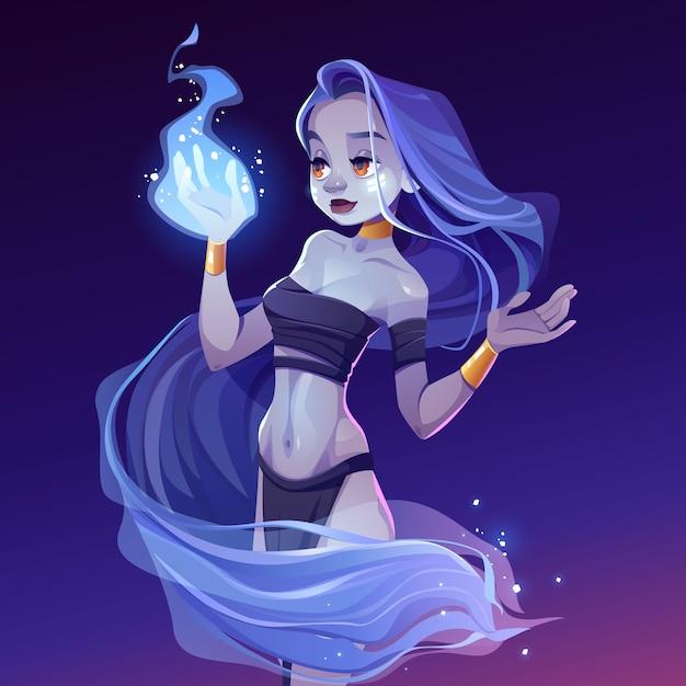 Mulher mágica, ninfa, olhando no fogo assistente na mão Vetor grátis