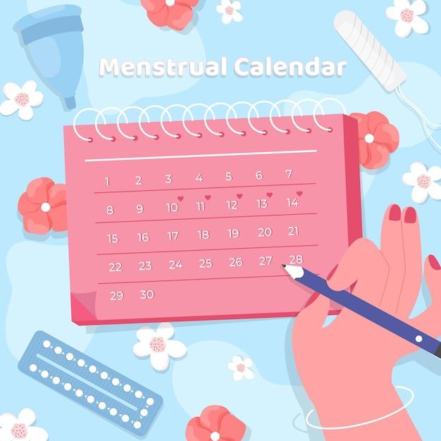 Mulher marcando no calendário menstrual Vetor grátis