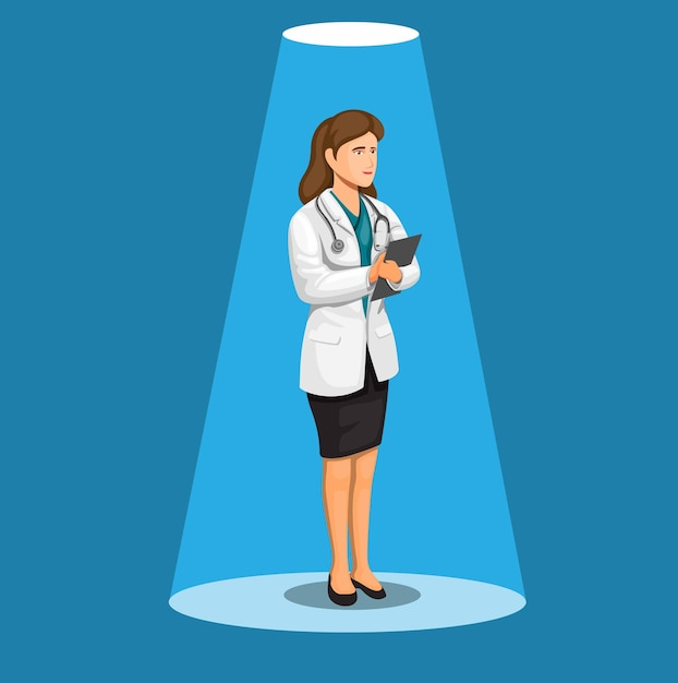 Mulher médica ou cientista em pé conceito na ilustração dos desenhos animados Vetor Premium