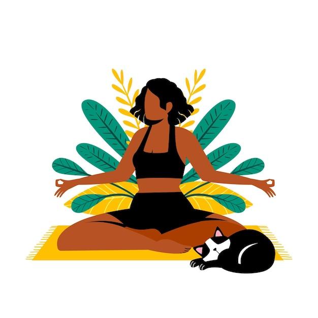 Mulher meditando ao lado de seu gato Vetor grátis