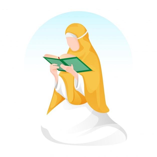 Mulher muçulmana dos desenhos animados, lendo um livro sagrado em pose de assento. Vetor Premium