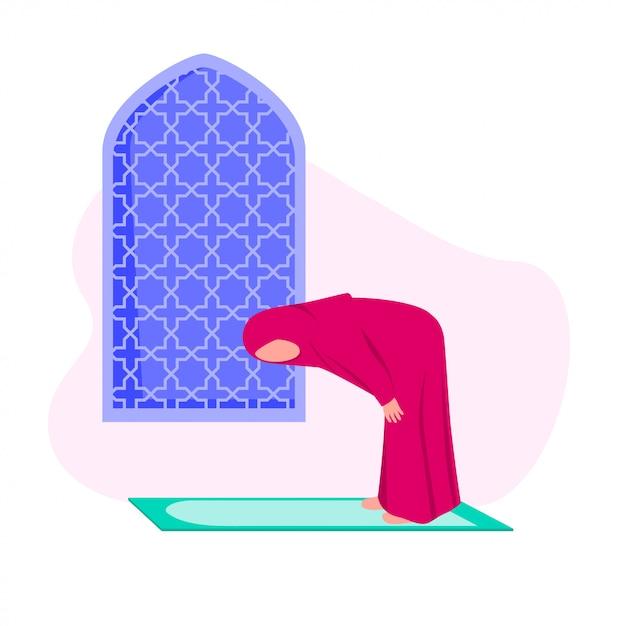 Mulher muçulmana praticando shalat Vetor Premium