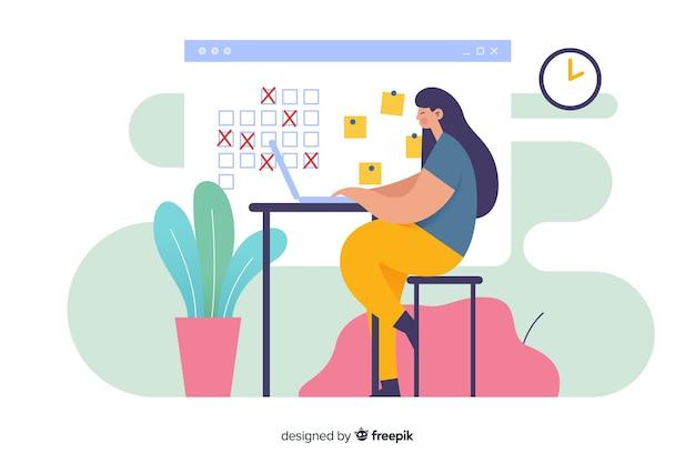Mulher na mesa olhando a página de destino do organizador de calendário Vetor grátis