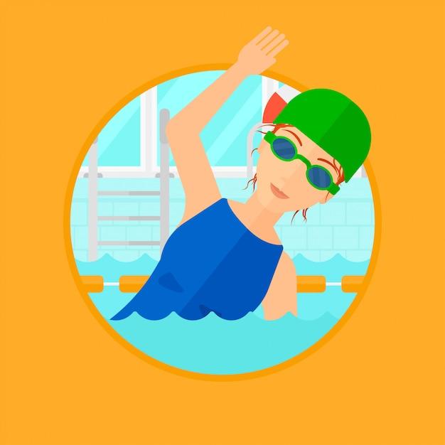 Mulher nadando na piscina. Vetor Premium