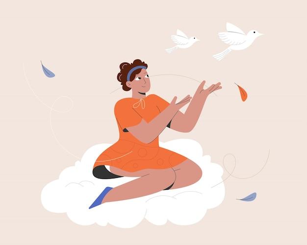 Mulher nas nuvens e pássaro livre Vetor Premium