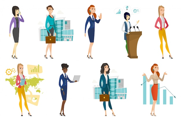 Mulher negócio, aeromoça, doutor, profissão, jogo Vetor Premium
