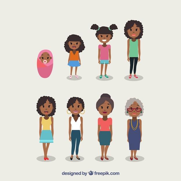 Mulher negra em diferentes idades Vetor Premium