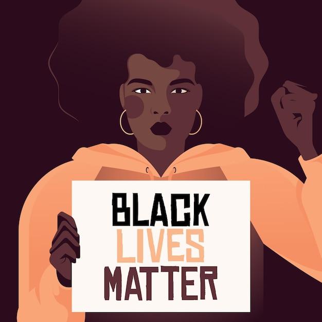 Mulher negra participando de vidas negras importa movimento Vetor grátis