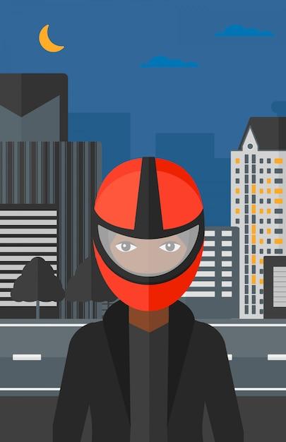 Mulher no capacete de motoqueiro. Vetor Premium