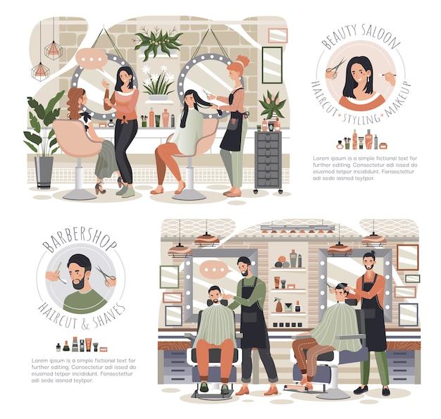 Mulher no salão de beleza, homem na barbearia, pessoas vector a ilustração Vetor Premium