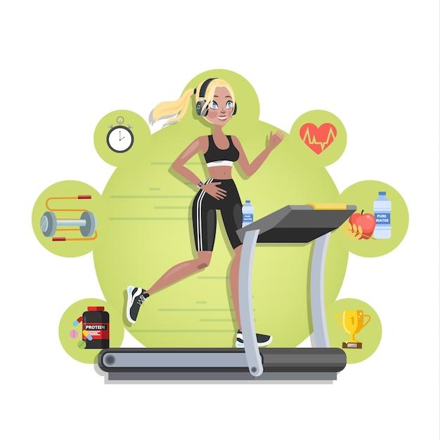 Mulher no treinamento de roupas esportivas na esteira. jogging no ginásio com equipamento especial. ilustração Vetor Premium