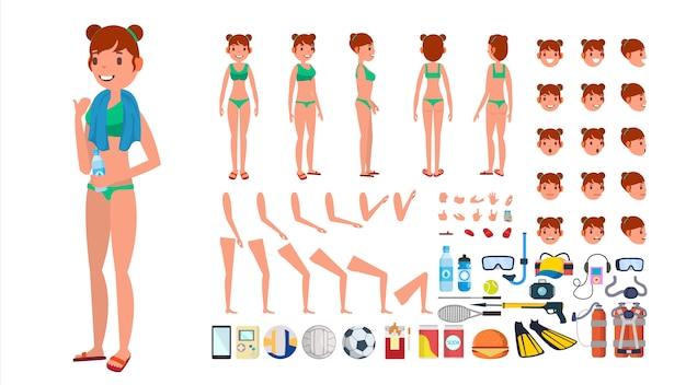 Mulher no vetor do swimsuit. caráter fêmea animado no biquini nadador. conjunto de criação de praia de verão. comprimento total, frente vista traseira. poses, emoções face, gestos. desenhos animados lisos isolados Vetor Premium