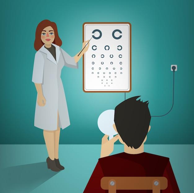 Mulher, oftalmologista, examinando, paciente, usando, um, snellen, mapa Vetor Premium
