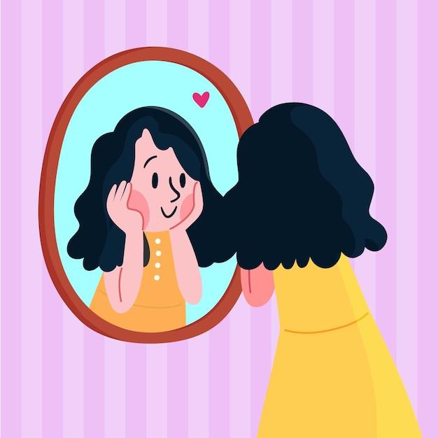 Mulher olhando para si mesma e sendo feliz Vetor Premium