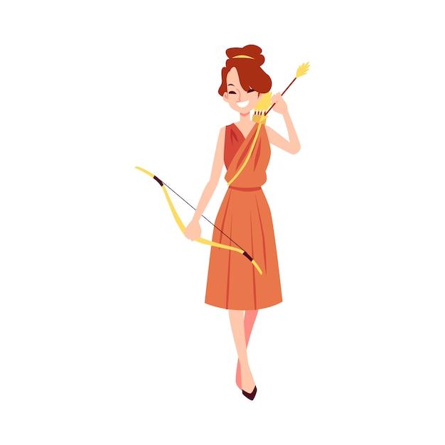 Mulher ou deusa grega artemis fica segurando o arco e flecha estilo cartoon Vetor Premium
