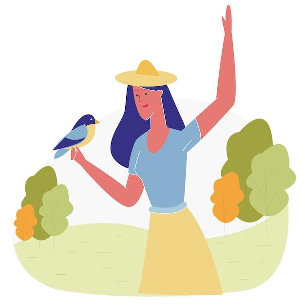 Mulher, passar tempo, em, animal, parque, alimentação, pássaros Vetor Premium