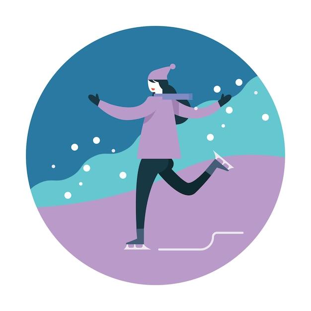 Mulher, patinação gelo, durante, inverno Vetor Premium