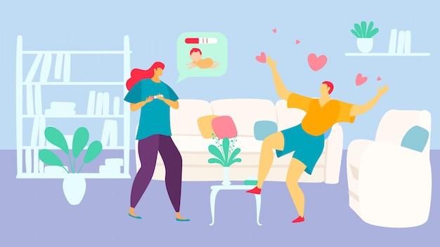Mulher personagem conversa gravidez homem marido sobre ilustração infantil. macho sentado sofá fêmea espera teste de gravidez. Vetor Premium