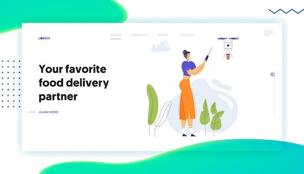 Mulher personagem voando drone com página inicial de controle remoto Vetor Premium