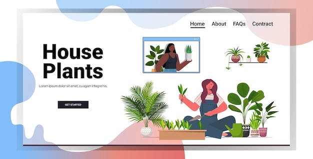 Mulher plantando plantas em maconha dona de casa cuidando de suas plantas sala de estar espaço interior cópia horizontal Vetor Premium
