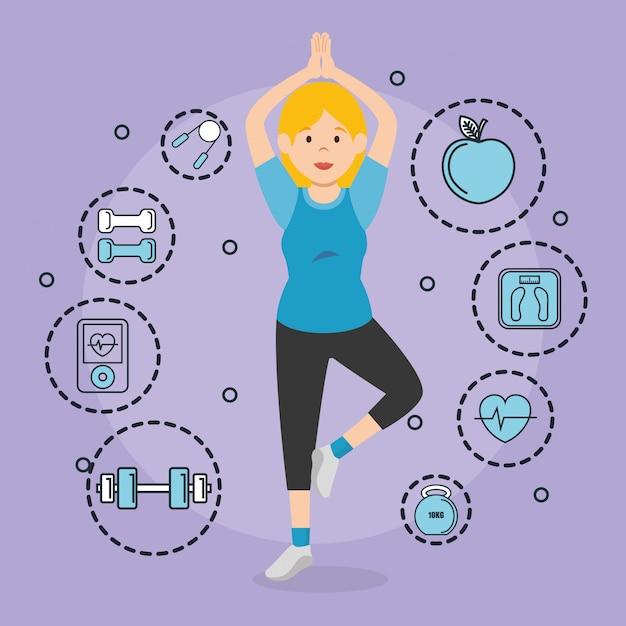 Mulher praticando exercice com ícones de esportes Vetor grátis