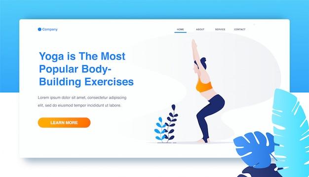 Mulher praticando ioga, utkatasana exercício, pose de cadeira Vetor Premium