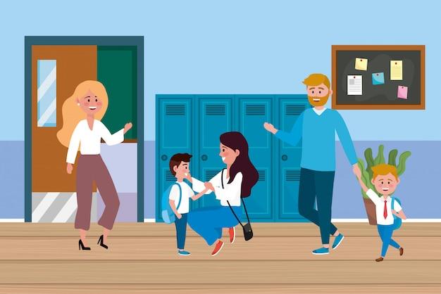 Mulher, professor, com, estudantes, e, mãe, com, pai Vetor grátis