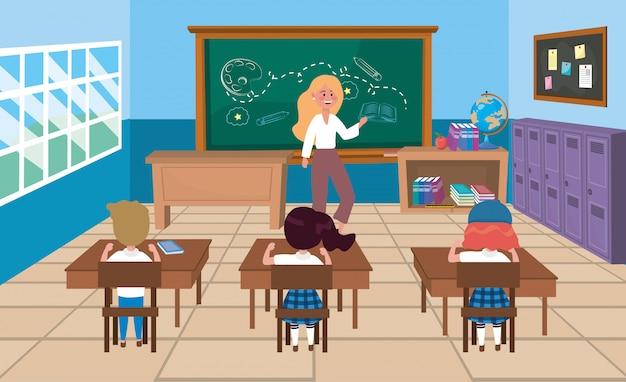 Mulher, professor, com, meninas, e, menino, estudantes, em, a, escrivaninhas Vetor grátis