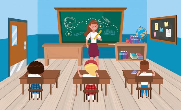 Mulher, professor, com, meninas, e, menino, estudantes, em, a, sala aula Vetor grátis