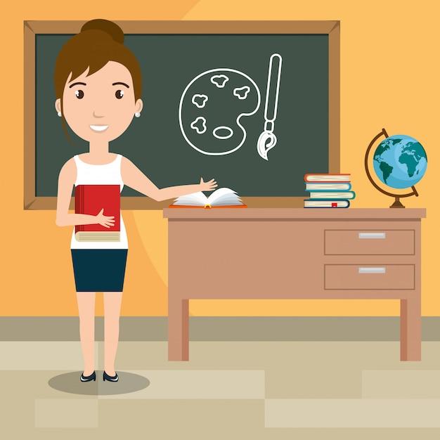 Mulher professora na sala de aula Vetor grátis