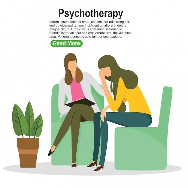 Mulher, psicólogo, e, mulher, paciente Vetor Premium