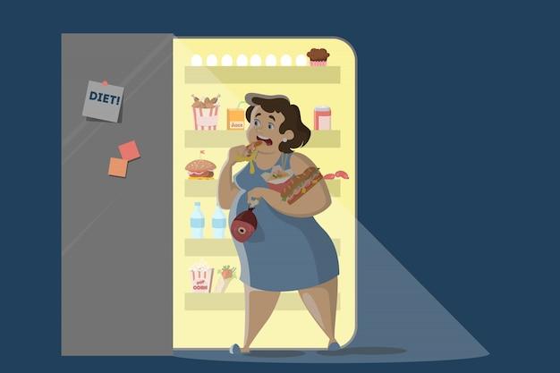 Mulher que come à noite perto da geladeira. Vetor Premium
