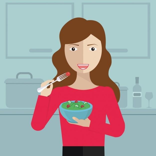 Mulher que come na cozinha Vetor grátis