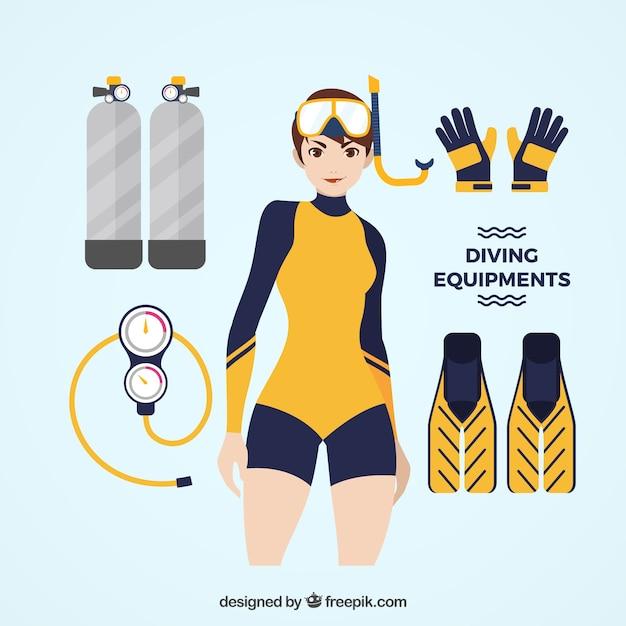 Mulher que desgasta a roupa de mergulho com acessórios de mergulho Vetor grátis