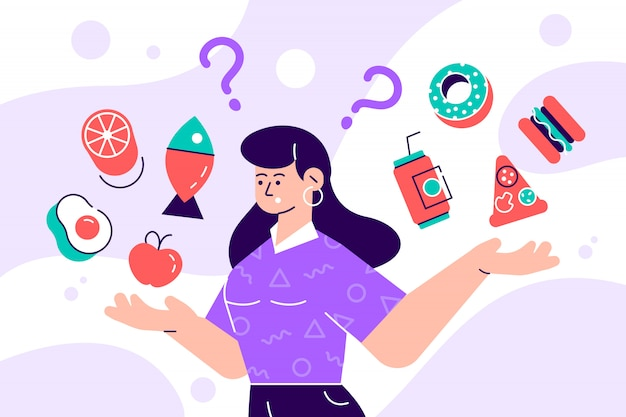 Mulher que escolhe entre a ilustração lisa do conceito de alimento saudável e insalubre. personagem de estilo cartoon plana feminina fazer dieta e alimentação saudável Vetor Premium
