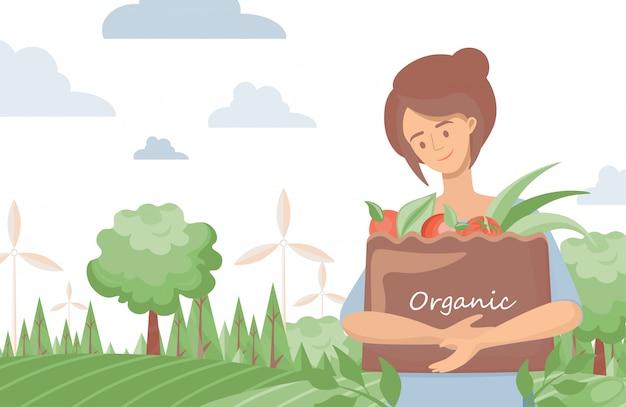 Mulher que guarda o saco do eco com ilustração orgânica dos vegetais. estilo de vida verde, conceito de comida de fazenda orgânica. Vetor Premium