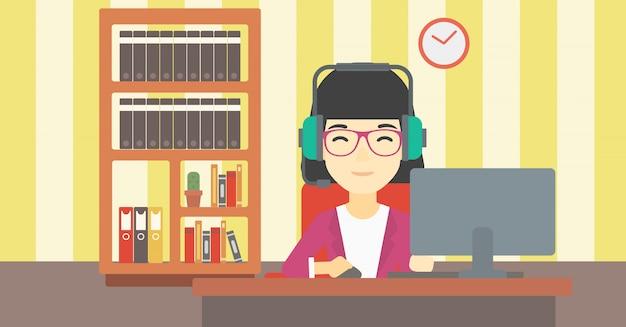 Mulher que joga a ilustração do vetor do jogo de computador. Vetor Premium