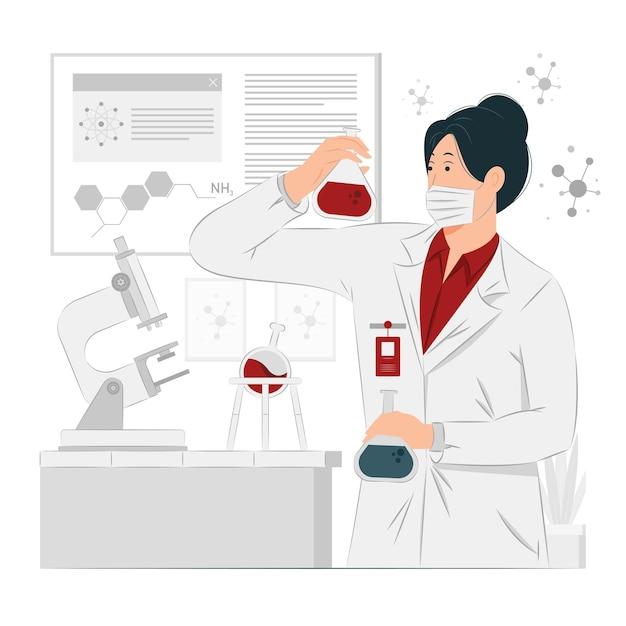 Mulher química trabalhando ilustração do conceito Vetor Premium
