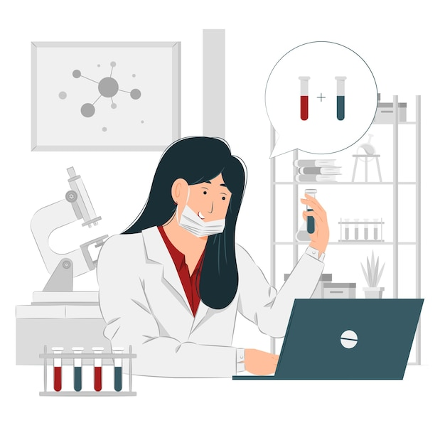 Mulher química trabalhando ilustração Vetor Premium