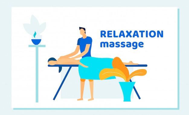 Mulher, recebendo, relaxamento, costas, massagem, em, spa Vetor Premium