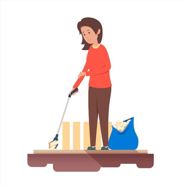 Mulher recolhe lixo com uma ferramentas. reciclagem de lixo. Vetor Premium