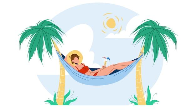 Mulher relaxando com um coquetel na rede Vetor Premium