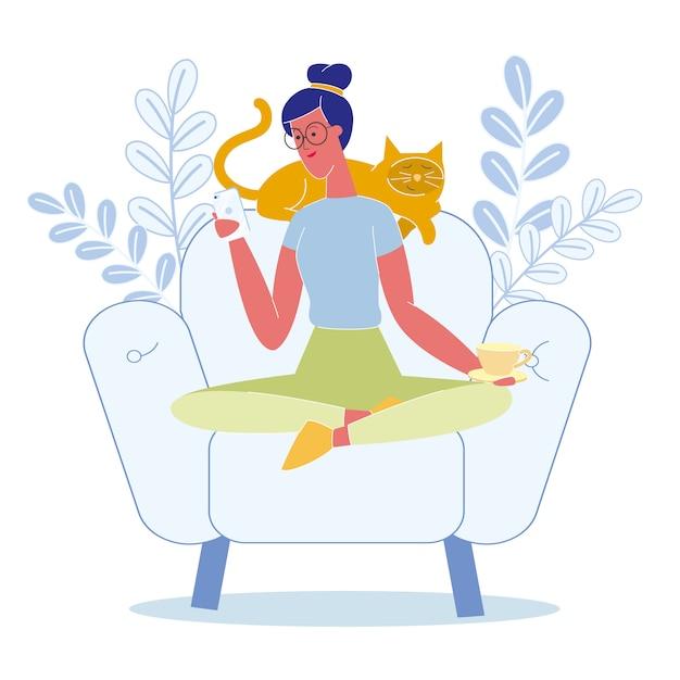 Mulher, relaxante, gato, apartamento, vetorial, ilustração Vetor Premium