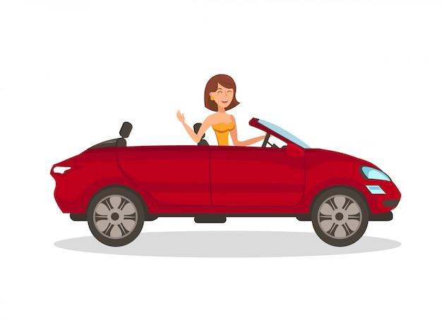 Mulher rica em ilustração vetorial plana de carro Vetor Premium