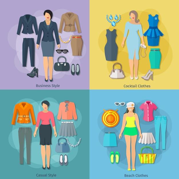 Mulher roupas conceito composição quadrada de praia coquetel de negócios e ícones de estilos casuais conjunto planas Vetor grátis