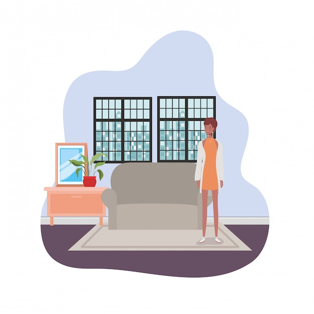 Mulher sala de estar com vista da cidade pela janela Vetor Premium