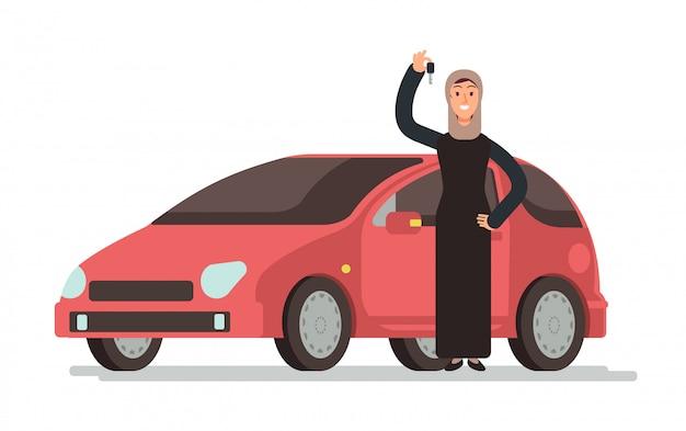 Mulher saudita muçulmana árabe feliz que obtém a carteira de motorista e o carro pessoal. Vetor Premium