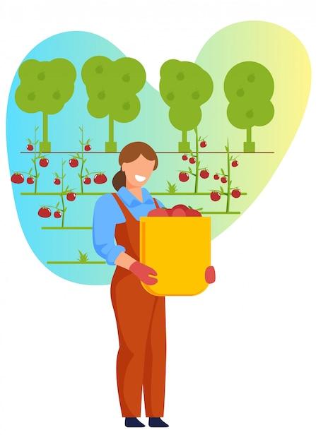 Mulher segura cesta com frutas maduras ou legumes Vetor Premium