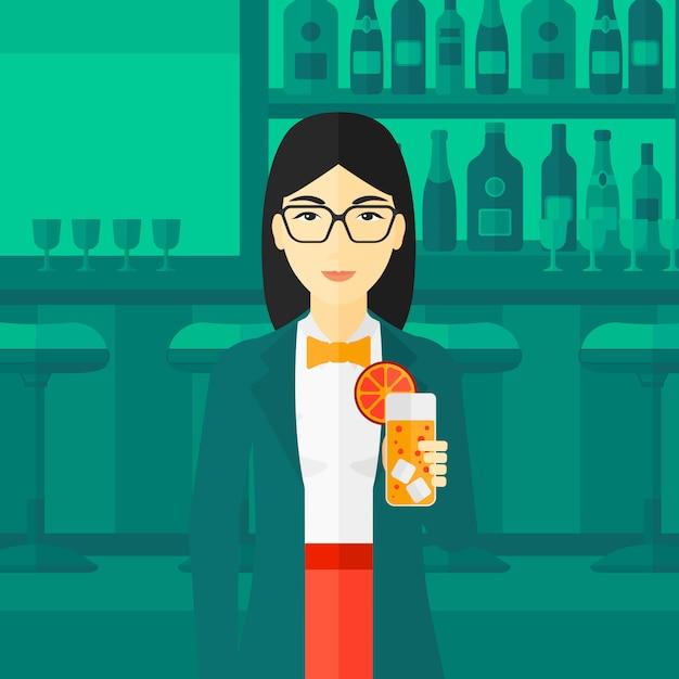 Mulher segura, copo suco Vetor Premium